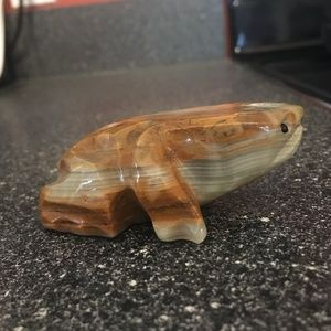 Carved Stone Frog Vintage Toad Figurine